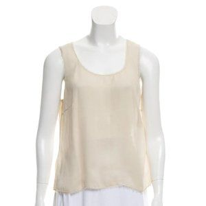 J. Mendel Sleeveless Frayed-Accented Top